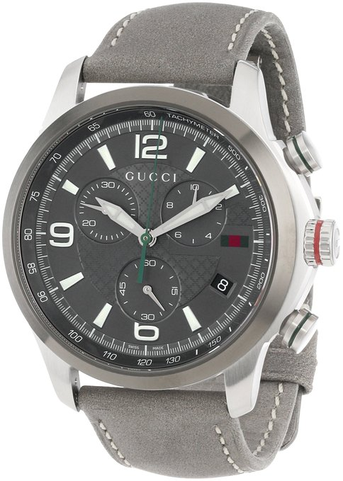 "Gucci Men's YA126242 ""G-Timeless"" Diamond Pattern Anthracite Dial Watch"