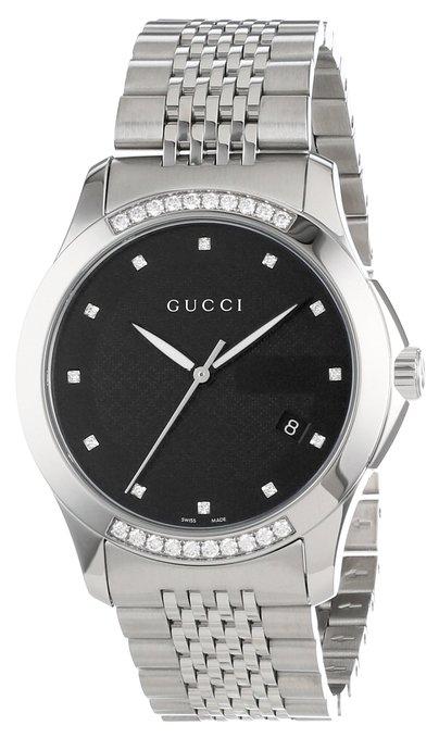 Gucci Men's YA126408 G-Timeless Medium Diamond Black Dial Steel Watch