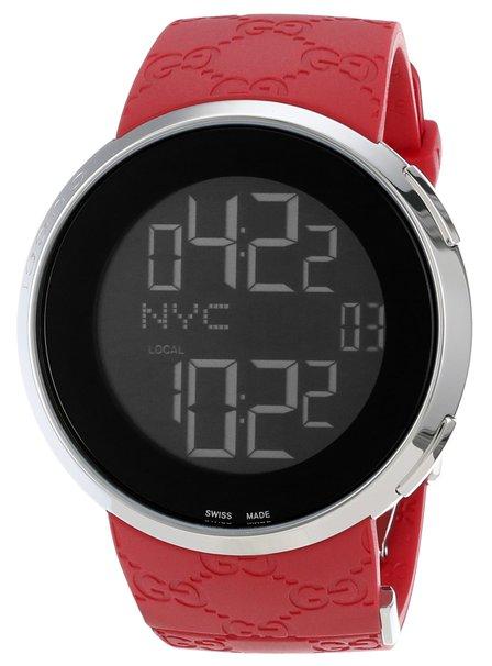 Gucci Men's YA114212 I-Gucci Red Rubber Strap Watch