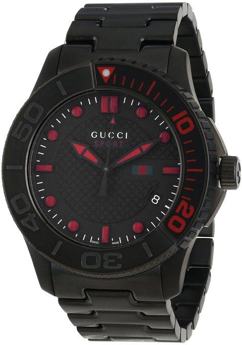 "Gucci Men's YA126230 ""G-Timeless"" Dive Black IP Steel Bracelet Watch"