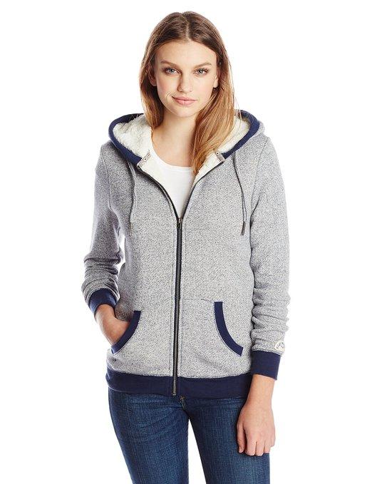Roxy Juniors Lofty Sherpa Lined Marl Fleece Zip Up Hoodie