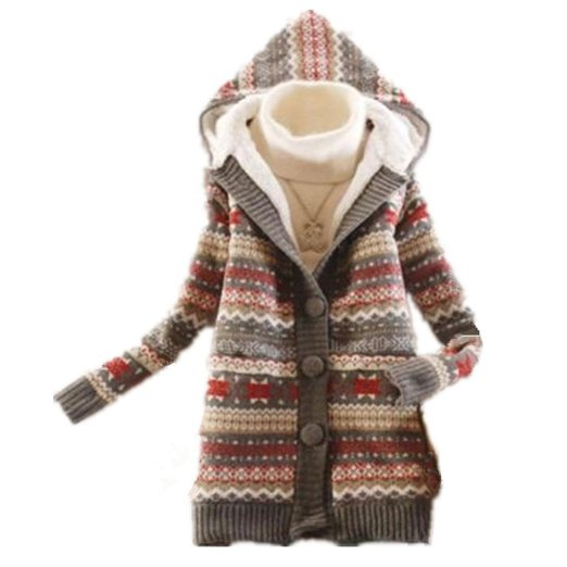 Retro Women's Knited Thicken Warm Winter Hooded Cardigan Coats Sweater Tops