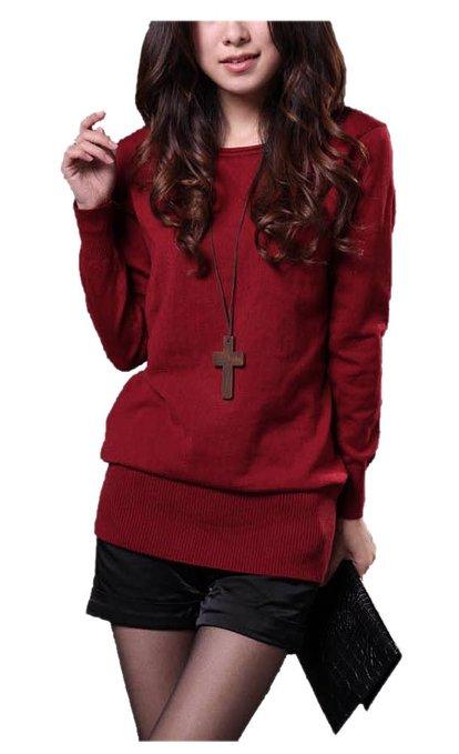 ARJOSA Women Sloughy Pullovers Round Neck Fleece Sweatshirt Loose Jumper Sweater
