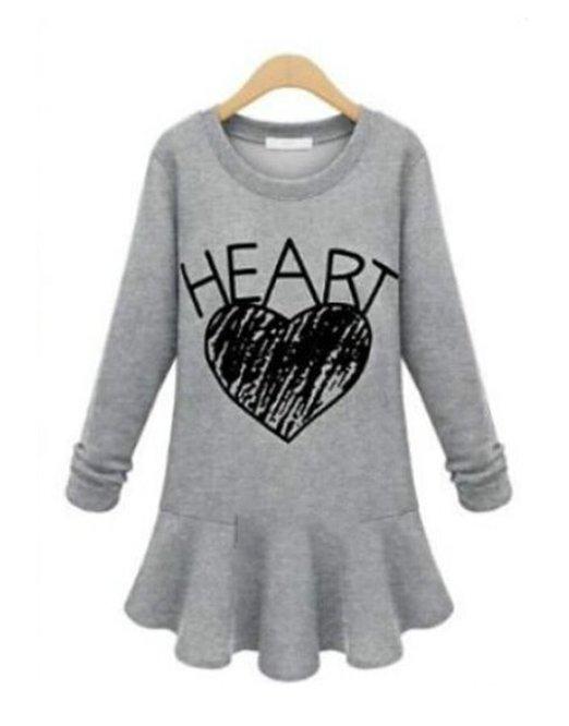 TKHT Hoodie Plus Size Heart Grey