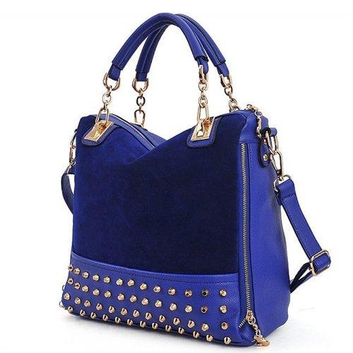Elegant Women's Leather Handbag Shoulder Bag Messenger Bag (Blue)