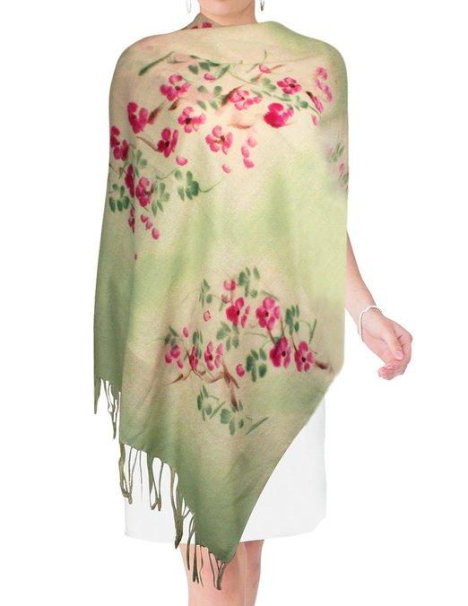 Dahlia Women's Hand Painted Merino Wool Pashmina Scarf Shawl