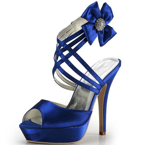 Elegantpark EP2031 Women's Evening Peep Toe Platform High Heel Strappy Velcro Satin Wedding Sandal Shoes