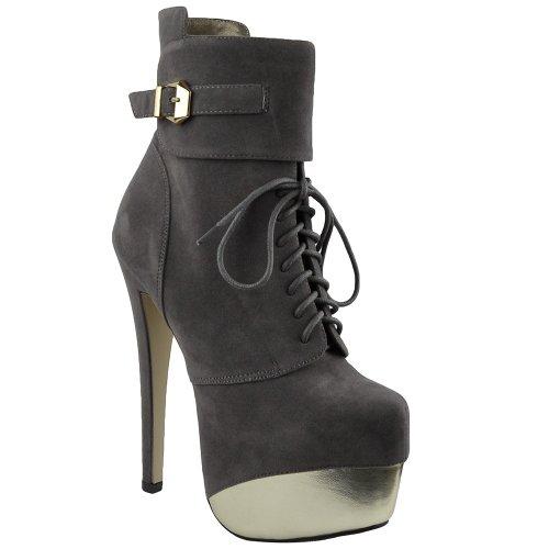 Womens Mid Calf Boots Two Tone Platform Sexy High Heels Gray