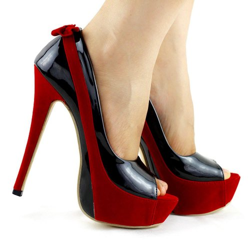Show Story Sexy Two Tone Peeptoe Bow Stiletto Platform High Heels Pumps,LF40501