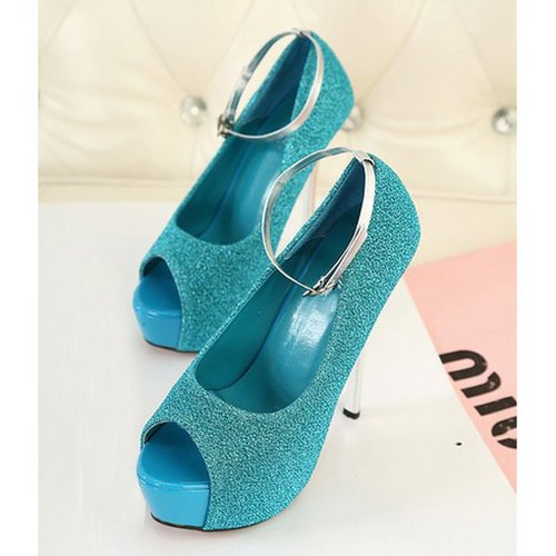 Gloshop Women's Peep Toe Platforms Stilettos High Heel Fashion Party Shoes and Wedding Shoes Pumps