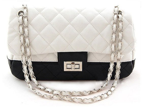 Ecosusi Women Fashion Sythetic Leather Purse White and Black Diamond Quilted Office Shoulder Handbags